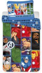 Marvel Avengers Cartoon Dekbedovertrek - Eenpersoons - 140 x 200 cm - Polyester