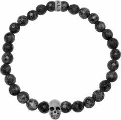 Zilveren Kaliber 7KB-0068L - Heren armband met beads - schedel - Labradoriet natuursteen 6 mm - maat L (20 cm) - zwart / zilverkleurig
