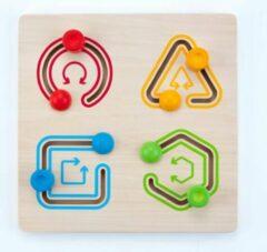 Rode Engelhart Educatief Geometric sliding puzzle 30 x 30 cm 4 shapes rubber wood