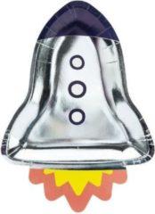 Zilveren Partydeco Poland Papieren borden Space Party - Rocket, 21.5x29.5cm. (1 zakje met 6 stuks)