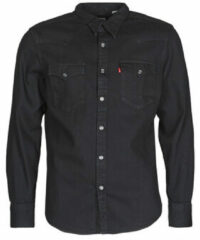 Zwarte Levi's regular fit denim overhemd Barstow Western marble black