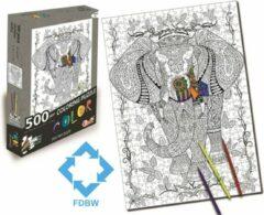 FDBW Puzzel Kleuren | Kleurpuzzels voor Volwassenen - Kinderen Puzzel Kleurplaat | Puzzel Kleuren Volwassenen - Legpuzzel 500 stukjes – Olaf de Olifant
