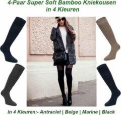 Beige Merkloos / Sans marque 4-Paar Super Soft Bamboe Kniekousen in 4 Kleuren | Maat 43-45