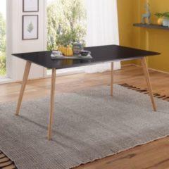 Wohnling Esszimmertisch SCANIO 160 x 76 x 90 cm MDF Holz Esstisch mit Tischplatte in Schwarz Design Küchentisch Retro Holztisch
