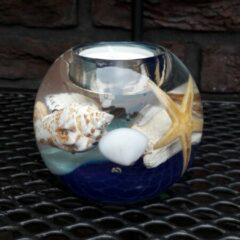 Blauwe Herinnering in Glas Glasobject Waxinelicht Oceaan Waxinelichthouder 9x9x7,5 cm