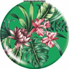 Cedon Klapspiegeltje Bloemen 7 Cm Aluminium Groen/roze