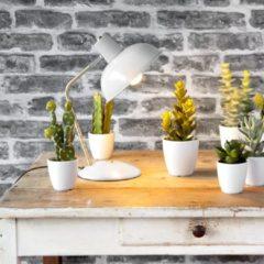 Leitmotiv Tafellampen Table lamp Hood iron matt Wit