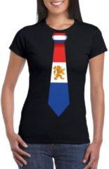 Bellatio Decorations Zwart t-shirt met Hollandse vlag stropdas dames - Nederland supporter XL