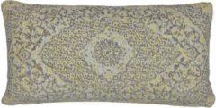 Perezvloerkleden.nl Vintage sierkussen - Tatum PS grijs geel - Chenille katoen - 70 X 35cm voor in de bank
