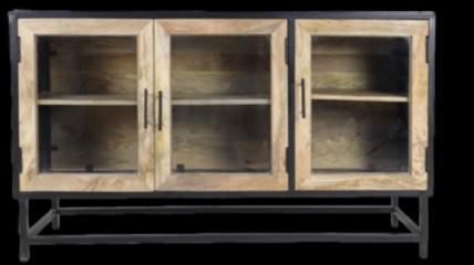 HSM Collection Dressoir Dublin - 140x40x80 - Zwart/naturel - Mangohout/ijzer