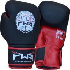 Fightwear Shop FWS Bokshandschoenen Matt MF Leder Zwart Rood 6 OZ Bokshandschoenen