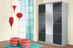 Rauch-PACKs Kleiderschrank 3-trg. in Grau-metallic / Alu gebürstet RAUCH PACKS Micro