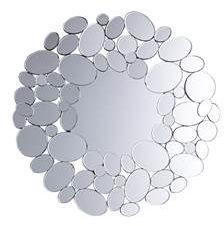 Beliani Limoges Spiegel Zilver Glas 70x1.5x70