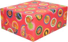 Bellatio Decorations 3x Rollen Sinterklaas kadopapier print rood 2,5 x 0,7 meter op rol 70 grams - Luxe papier kwaliteit cadeaupapier/inpakpapier - Sint en Piet