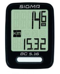 Zwarte Sigma Sport Sigma BC 5.16 Fietscomputer - 5 functies - Bedraad - Zwart