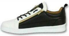 Gouden Cash Money Heren Schoenen - Heren Sneaker Bee Black White Gold - CMS97 - Wit/Zwart - Maten: 45