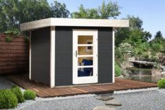Blokhut Lounge 1 Gr. 2 280 x 375cm antraciet/wit