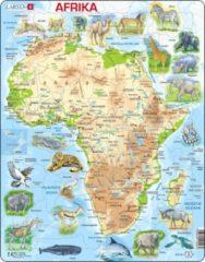 Larsen Puzzel Maxi Kaart - Afrika Geografisch met Dieren - 63 stukjes