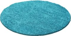 Blauwe Impression Shaggy Rond Vloerkleed Turquoise Hoogpolig - 200 CM ROND