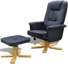 VidaXL Tv-fauteuil met voetensteun verstelbaar kunstleer zwart