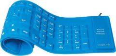 LogiLink ID0035A Tastatur Flexibel Wasserfest USB + PS/2 - blau