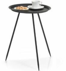 Merkloos / Sans marque 1x Metalen bijzettafeltje zwart 39 x 53 cm - Zeller - Woondecoratie/accessoires - Bijzettafels - Metalen bijzet tafeltjes