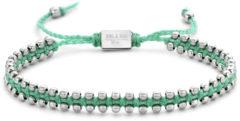 Frank 1967 Nautical 7FB 0454 stalen beads armband met turquoise koord - verstelbare maat