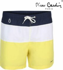 Marineblauwe Pierre Cardin - Heren Zwembroek - Nice - Geel/Wit