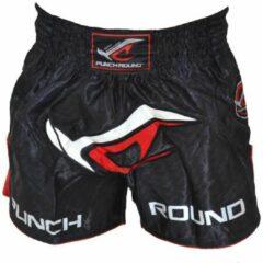 Punch Round™ Punch Round NoFear Muay Thai Kickboks Broek Zwart Rood maat XXS 6/8 jaar
