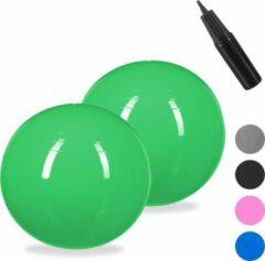 Relaxdays 2x fitnessbal 75 cm - pompje - gymbal - zitbal - yogabal - pilatesbal - groen