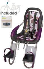 Witte Qibbel ToGo - Fietsstoeltje Voor - Stuurpen bevestiging - antraciet/ Dots Purple