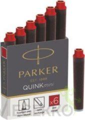 Rode Parker Quink mini inktpatronen rood, doosje met 6 stuks