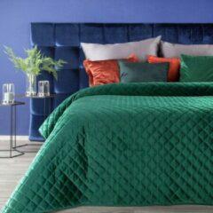 Donkergroene Luxe bed deken Brulo Polyester sprei 220x240 cm Gewicht-260+75+120 GSM donker groen