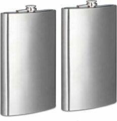 Zilveren Relaxdays 2 x platvink XXL - 1,8 liter - roestvrij staal - heupfles - zakflacon schroefdop
