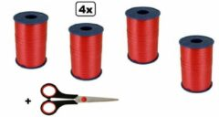 4x Krullint rood 5mmx500meter| merk Cotton blue |krullint schaar| sinterklaas decoratie