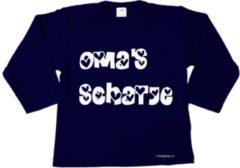 Blauwe Merkloos / Sans marque Minifashion - kraamcadeau - baby - peuter - shirt - lange mouwen - marine - Oma's schatje- maat 56