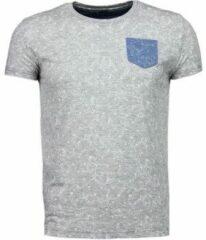 Grijze T-shirt Korte Mouw Black Number Blader Motief Summer - T-Shirt
