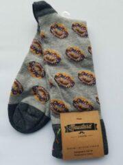 Grijze Merkloos / Sans marque Moustard londen sokken 41/46 met donut print