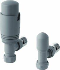 Eastbrook - Radiatorkraan thermostatische met afsluiter in mat grijs met hoekaansluiting