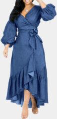 Newchic Puff Sleeves V-neck With Belt Ruffled Denim Dress