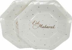 Witbaard 8x stuks Ramadan Mubarak thema bordjes wit/rose goud 18 cm - Suikerfeest/Offerfeest decoraties