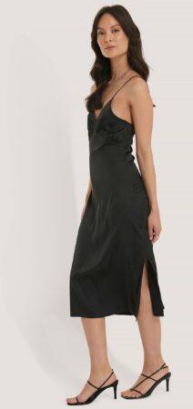 Afbeelding van NA-KD Party Slip Satin Slit Dress - Black