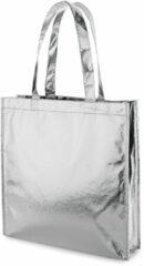 Merkloos / Sans marque 1x Gelamineerde boodschappentassen/shoppers zilver 34 x 35 cm - Non-woven gelamineerde tassen met 50 cm handvatten