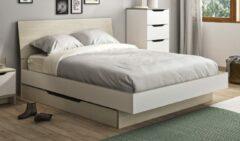 Gamillo Furniture Tweepersoonsbed Gray 140x190cm in wit met eiken