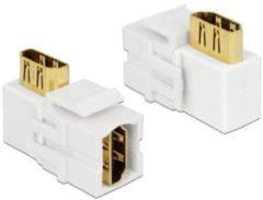 DeLOCK Keystone module HDMI (v) - HDMI (v) haaks - versie 2.0 (4K 60Hz) / wit