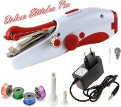 Rode Deluxe Stitcher Pro - PREMIUM Handnaaimachine met Adapter en Accesoires - Mini naaimachine - Compact - Draadloos - Draagbare Reis Hand Naaimachine - Elektrisch of op Batterijen