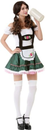 Afbeelding van PartyXclusive Tiroler Jurkje – Dirndl Miss Oktoberfest - Oktoberfest kleding voor dames – Dirndl jurkje maat M – Verkleedkleding voor dames kleur groen, bruin en roze