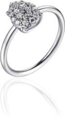 Infinitois - I01R003 - Ring - Bloemblaadje gezet met Zirkonia Stenen - 10mm Breed - Maat 52 - Gerhodineerd Zilver 925
