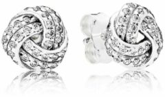 Zilveren Pandora Love knot silver stud earrings with clear cubic zirconia 290696CZ