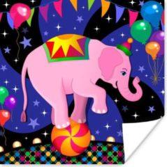 PosterMonkey Een vectorillustratie van een baby olifant in het circus poster 50x50 cm - Foto print op Poster (wanddecoratie woonkamer / slaapkamer) / Wilde dieren Poster
